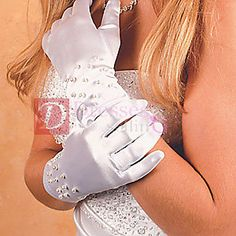 Satin wrist length glove, embellished with scattered pearls along the wrist area. Available in White or Ivory. Wedding Gloves, Knitted Flowers, New Day, Satin, Formal, Womens Fashion, Ivory, Pearls, Style