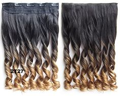 Simpleyourstyle New Two Tone One Piece Long Curl/curly/wavy Clip in Ombre Synthetic Thick Hair Extensions Clip-on Hairpieces 14colors (2T27) *** This is an Amazon Affiliate link. Details can be found by clicking on the image.