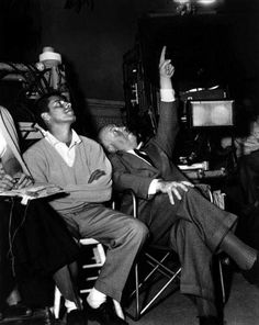 Jerry Lewis and Alfred Hitchcock on set, mid 1950's