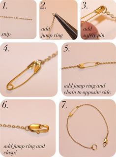 DIY Safety Pin Bracelet - @Kristina Kilmer Bradford, this should be the official consignment sellers bracelet.  ;-)