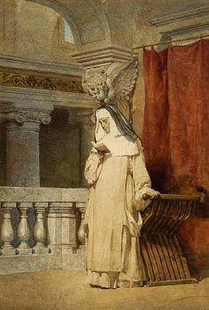 Freira lendo no interior de uma igreja, 1877. Enrico Coleman (Itália, 1846 – 1911) Aquarela,  54,25 cm x 36 cm