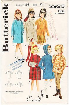 Vintage Pattern Butterick 2925 Girls' Box Coat and Jacket … | Flickr