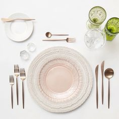 White Lace Chargers + Pink  White Collection Vintage China + Rose Gold Flatware + Olive Goblet/Champagne Coupe Trios + Antique Crystal Salt Cellars | Casa de Perrin Design Presentation