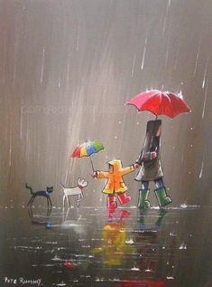 Quotes Discover Cute rain art by Pete Rumney Street Art Busy Street Rain Street Rain Art Umbrella Art Umbrella Painting Walking In The Rain Acrylic Art Dog Art Art And Illustration, Art Mignon, Rain Art, Umbrella Art, Umbrella Painting, Pics Art, Acrylic Art, Painting & Drawing, Rain Painting
