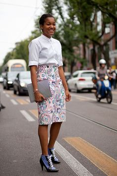 Street Style: Jil Sander paisley and Balenciaga's must-have footwear look chic on Tamu.