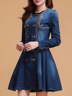 Vestido Vintage Denim azul - Milanoo.com