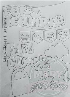 Ideas Para Fiestas, Coloring Pages, Origami, Doodles, Scrapbook, Lettering, Stickers, Easy Drawings, Happy Brithday