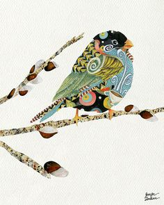 11x14 Art Print Cafe Swirly Bird 2 by TheOpulentNest on Etsy, $22.00