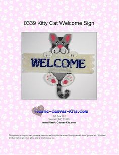 Kitty Cat Welcome Sign-Plastic Canvas Pattern-PDF Download