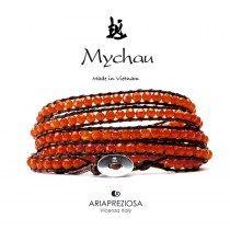 Mychau - Bracciale Vietnam originale realizzato con Agata Rosso Fuoco (Fire Agate) naturale su base bracciale col. Testa di Moro