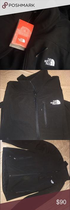 Black north face Bought this brand new and it's a little bit, it's a size small in Mens not women's. It's a summit series so that is featured on the arm. Great condition nothing wrong with it & tags still on it. I bought it for $159! Don't low ball me please. The material is not fuzzy. The North Face Jackets & Coats