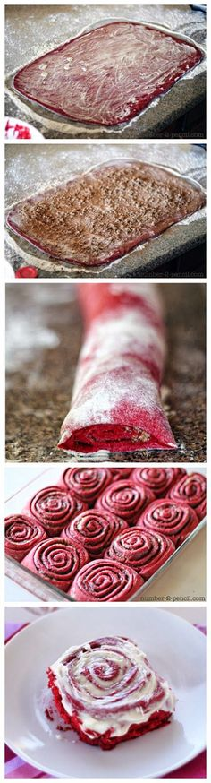 Soft and fluffy red velvet cinnamon rolls made with cake mix and stuffed with cinnamon and sugar.  Top it off with cream cheese frosting and serve these to loved ones this Valentine's Day.