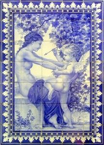 Girl and Cupid | Hand-Painted Azulejo Panel - $349