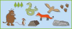 The Gruffalo Story Prompts / Cut Outs Gruffalo Eyfs, Gruffalo Activities, Gruffalo Party, The Gruffalo, Book Activities, Toddler Activities, Preschool Literacy, Preschool Letters, Preschool Printables