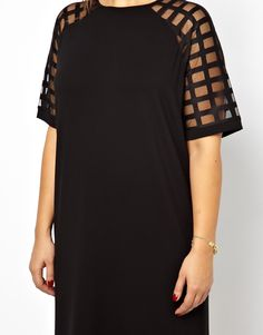 Image 3 of ASOS CURVE Shift Dress With Cage Sleeve