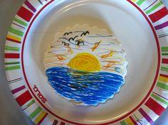 Sunset made with fine line food coloring markers. Lovely! www.FooDoodler.com #foodart #sunset #cookiedecorate #foodcoloring #marker Food Coloring, Cookie Decorating, Food Art, Markers, Sunset, Tableware, Crafts, Inspiration, Biblical Inspiration