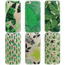Plantas de Cactus verde Hojas de Plátano Cubre Funda de Silicona Suave Para el iphone 7 6 6 S Más 5 5S SÍ Transparente Claro Teléfono Contraportada cubierta(China (Mainland))