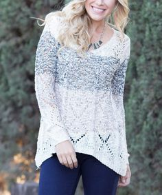 Look at this Pinkblush Black & Mocha Color Block Open-Knit Sweater on #zulily today!