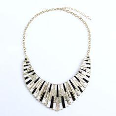 $6.99 Black Semi-circle Geometric Bib Necklace at Online Jewelry Store Gofavor.com.