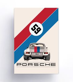 """59 Brumos 911 Porsche.  Digital Print Illustration.Printed on Plastic  Available Sizes: 12""""x 18"""" , 18""""x 24"""" or 24"""" x 36""""  No need for a poster frames smooth, bright white rigid plastic posters.  Material:Our 3mm (1/8"""") PVC Material is a smooth, bright white rigid  plastic that is lightweight, yet very durable and weather resistant. They  are great for both indoor and outdoor use, and have a low-glare, matte  appearance.  Turn Around Time:5 Days…"""