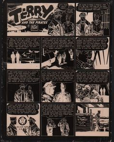 """A production negative of one of Milton Caniff's most famous strips (Oct. 17, 1943). Flip Corkin explains to the newly """"winged"""" Terry about the purpose of the war. The strip was widely reprinted and even read into the Congressional Record."""