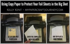 Protect foil sheets in the Big Shot with copy paper Card Making Tips, Copy Paper, Altered Boxes, Funny Tattoos, Celebration Quotes, Wedding Quotes, Card Tutorials, Big Shot, Education Quotes