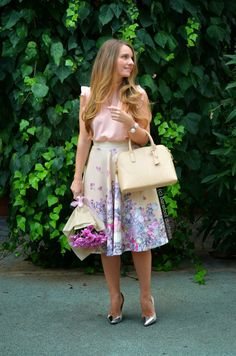 Pink Ribbon --- Skirt // ASOS ,  Top // ASOS ,  Bag // ZARA ,  Heels // ZARA ,  Bracelet // ZARA ,  Earrings // Accessorize