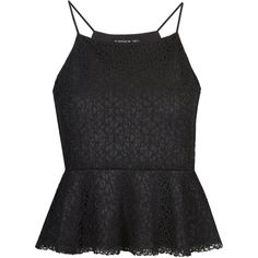 TOPSHOP TALL Lace Peplum Cami (100 VEF) ❤ liked on Polyvore featuring tops, shirts, tank tops, peplum, tanks, black, topshop, black camisole and black cami