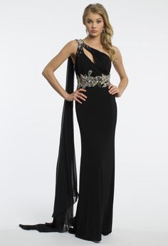 Camille La Vie One Shoulder Prom Dress with Beaded Waist