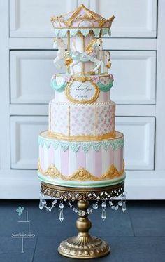 Vintage Carousel Cake - Cake by Tamara - CakesDecor Gorgeous Cakes, Pretty Cakes, Amazing Cakes, Cupcakes, Cupcake Cakes, Super Torte, Carousel Birthday Parties, Carousel Cake, Carousel Party