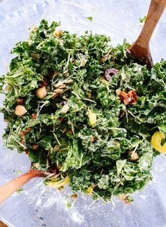 This hearty Greek kale salad packs great for lunch! http://cookieandkate.com