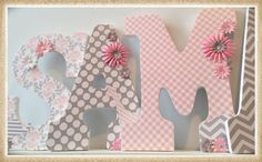 Pink. Grey. Girls Nursery Letters. Nursery decor. Name by dmh1414, $14.50 https://www.etsy.com/shop/dmh1414?ref=listing-shop-header-item-count