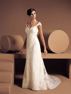 A-line Sweetheart Chapel Train Capped Satin Plus Size Wedding Dress For Brides