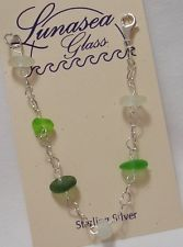 LUNASEA TREASURES SEA GLASS DRILLED GREENS & WHITE STERLING SILVER BRACELET 8""