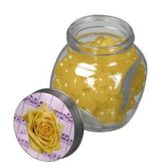 Yellow Rose and Music Glass Candy Jar with lemon jelly bellies #candyjar #jellybeans #flower #purple