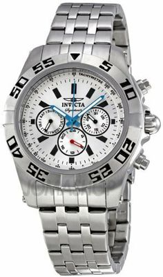 """Invicta Signature II Silver Dial Chronograph Stainless Steel Mens Watch 7302 Invicta. $69.95. Analog with Silvertone Tritnite Luminous Hands & Markers. """"3 Eye Display of Day, Date and 24 Hour Time"""". Classic Cool Black Round Face. All Stainless Steel Case & Band. Sleek Stainless Steel Matte and Mirror Finish Adjustable Band"""
