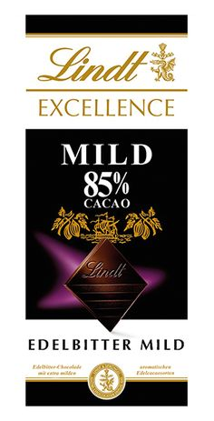 Lindt: Excellence 85% Mild, 100g Lindt Excellence, Bourbon Vanille, Calm, Cocoa Butter