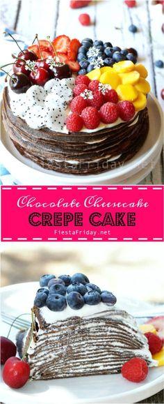 Chocolate cheesecake crepe cake | fiestafriday.net