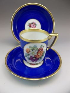 Rosenthal Demi Tea Cup Saucer Set Cobalt Blue Flowers Bavaria Germany