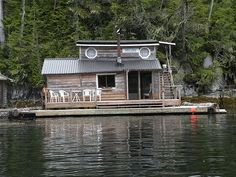 floating cabin off the coastline of Vancouver Island in the province of British Columbia