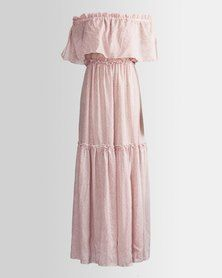 HASHTAG SELFIE Floral Maxi Off Shoulder Dress Coral Pink