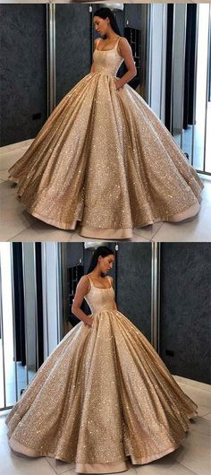 Ball Gown Prom Dress with Pockets Beads Sequins Floor-Length Gold Quinceanera Dresses PH724 #promdresswithpockets #quinceaneradress #gold #ballgown #promdress #partydress #elegant #sequins #princess #vintage #unique