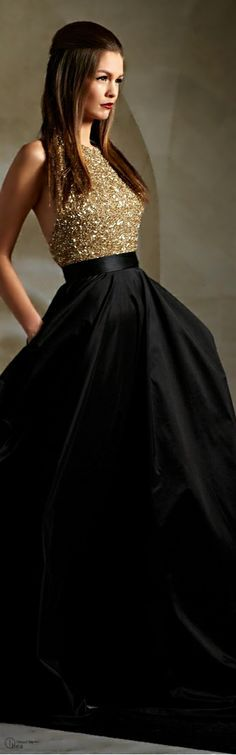 Classy formal attire with a long flowing gown. Simply timeless lopk
