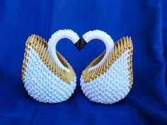 3D Origami 2 Gold Swans/Swan couple for wedding table centerpiece, Engagement decoration,Gold Anniversary,