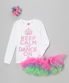 Pink 'Keep Calm and Dance On' Tee Set - Toddler & Girls