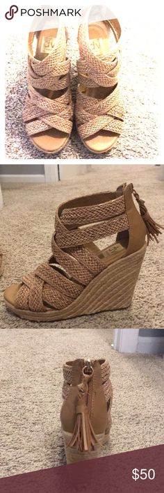 Wedge Sandals: Dolce Vita These wedges have only been worn twice! Pretty comfortable, considering the high wedge! They match everything and are cute in summer to go out! DV by Dolce Vita Shoes Wedges