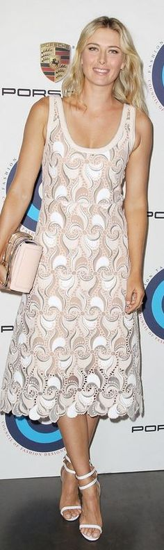 Who made Maria Sharapova's white sandals, tan dress, and jewelry that she wore in New York on August 20, 2014? Dress – Marc Jacobs  Shoes – Aquazzura  Purse – Porsche Design