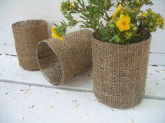 Burlap vases - - super easy - super cute.