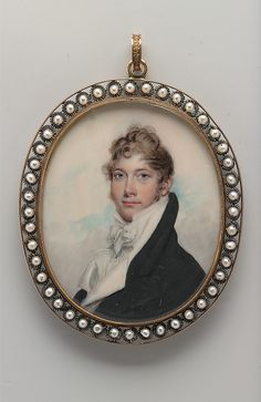 Benjamin Trott, Benjamin Kintzing watercolour on ivory in gold locket w pearl-studded wire trimmed rim ~ Hair reserve verso Renaissance, Miniature Portraits, Gold Locket, Historical Costume, Metropolitan Museum, Art History, History Museum, Oeuvre D'art, Les Oeuvres