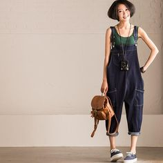 Korean Style Dark Blue Loose Causel Cowboy Jeans Overalls Overalls  N9533A